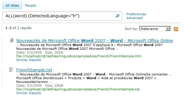 Language Specific Search